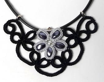 Black and grey tatting lace necklace