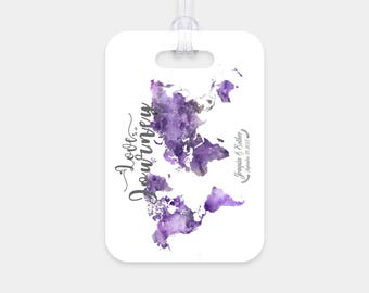 Personalized Rectangle luggage tags two sided glossy plastic