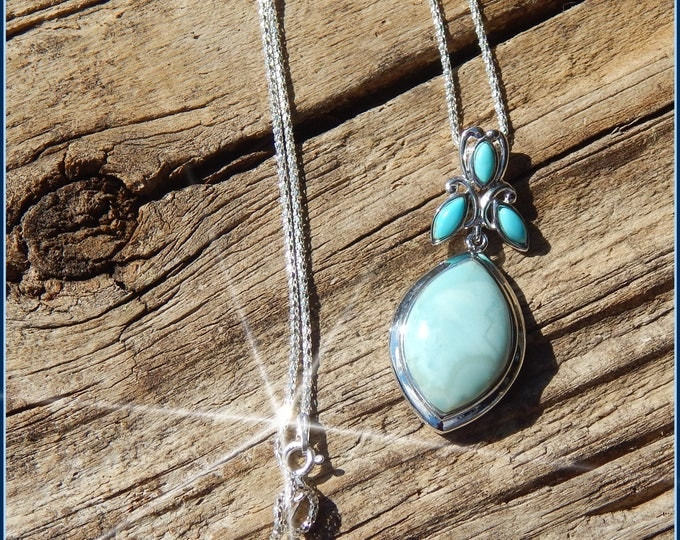 Featured listing image: Gorgeous Unique Larimar & Turquoise Pendant in Sterling Silver on Chain or Cord