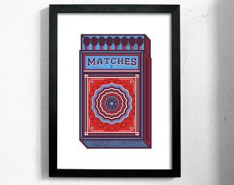 Matches - A3 silk screen art print - a colourful box of matches inspired by vintage graphics and printing