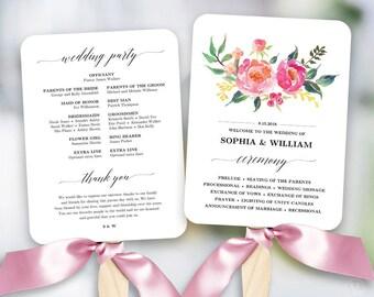Lush Floral Wedding Program Fan Template, Printable Fan Wedding Programs, Wedding Fans, DIY Wedding Programs, Editable text, Lush Spring