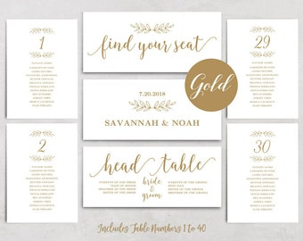 Gold Wedding Seating Chart Template, Printable Seating Chart, Header Signs and Table Signs 1-40, Modern Calligraphy, VW10GOLD
