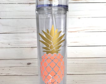 Pineapple Skinny Tumbler | Personalized | Sorority Gift | Bridesmaid Gift | Girls Weekend | College Roommate | Beach | Easter Basket
