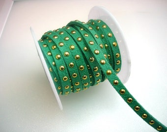 Synthetic suede with rivets color Green Ribbon