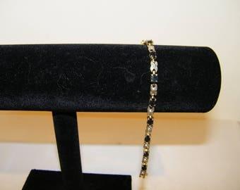 Vintage Sterling Black Rhinestone Marcasite Link Bracelet