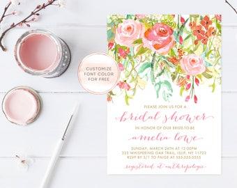Bridal Shower Invitation, Bridal Shower Invite, Floral Bridal Shower Invitation, Bridal Shower Invitation Printable, Boho, Watercolor [391]