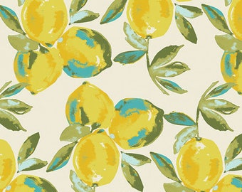 Yuma Lemons in Mist -Fabric by the Half Yard- Sage by Bari J. for Art Gallery - Lemon Fabric, Yellow and Teal, Flora Study, Citrus - Cotton