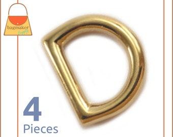 "3/8 Inch D Rings, Shiny Gold Finish, 4 Pieces, Small D Ring, Handbag Purse Bag Making Hardware Supplies, 3/8"", RNG-AA146"