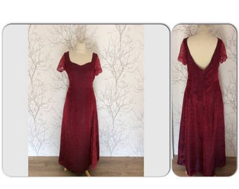 Evening dress in silk brocade and lace. Size 44
