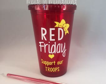 RED Friday Tumbler // Milso // Deployment // Support Our Troops