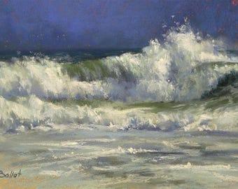 Ocean Wave painting, Seascape Original art, Beach Pastel painting, Impressionism, Unframed art, Big wave painting, Pastel ocean wall art