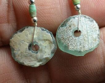 Roman Glass Earrings -- Ancient Roman Glass  Beads 100- 200 BC 004