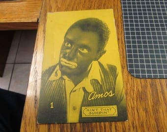 """Mid 1900's  Amos of Amos and Andy Postcard.  """"Aint That Sumpin"""""""