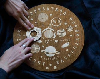 Wooden Ouija Board Round Spirit Board Specialty Designed Space Planets Game Stars