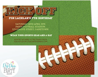 Football Printable Party Invitation in Green & Brown, 5x7in. Instant Download