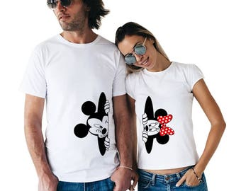 Mickey Mouse and Minnie Mouse, Hide, Disney shirts, Disney clothes, Disney couple shirts, Disneyland shirts, Couple shirts, Disney gifts