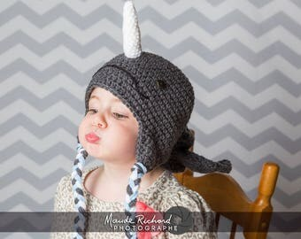 Crocheted earflap narwhal beanie, marine mythical unicorn animal hat for kids teen and adults