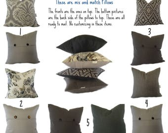 Mix and Match Gray Pillow- Bold Geometric Pattern Throw, Deep Gray Solid Sham,  Cushion with Buttons