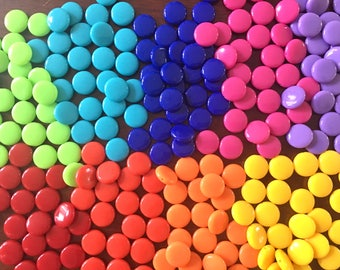 14mm Round Beads in 9 colors, Rainbow beads, circle beads, geometric jewelry, kids jewelry, candy beads, acrylic beads, bracelet beads