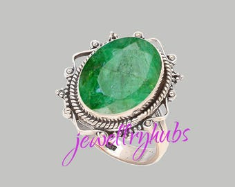 Natural Emerald Ring, Solitaire Ring May Birthstone Ring, Anniversary gift Green Gemstone ring, Genuine Raw Emerlad Jewelry, R25E
