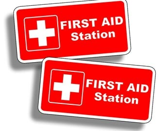 First Aid Station Sticker Vinyl Attention Safe Safety Decal Fire Rescue Home RED Rescue 1st Label Kit Area