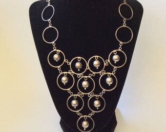 Taxco MidCentury Modernist Sterling Silver Rings and Beads Statement Necklace