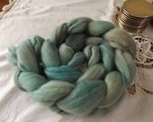 Merino roving hand dyed 20 micron 105 gms Colour 3 Teal Grey