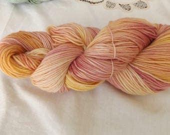 Hand dyed OOAK sock weight superwash merino/nylon yarn Rose base (Sunset)