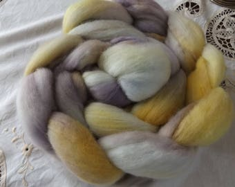Merino roving hand dyed 20 micron 103 gms Colour 5 Mauves yellows