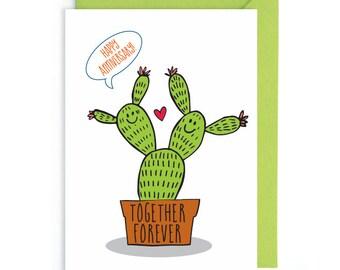 Cactus anniversary Card, Love Card, Anniversary Card, Funny Anniversary Card, Cactus card