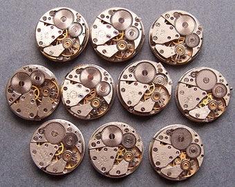 "Set of 10 Vintage WATCH Movements Steampunk Jewelry Art diameter 11/16"""