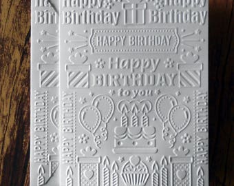 5 Birthday Cards, White Embossed Birthday Card Set, Happy Birthday Cards, Blank Birthday Card Set, Birthday Greeting Cards, Birthday Collage