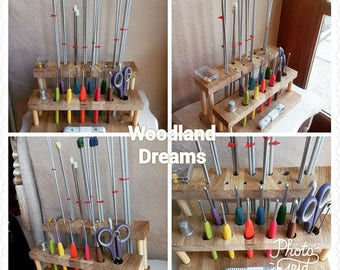 Crochet hook and knitting needle station