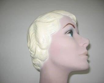 1940's Blonde Bobbed Blue Eyed Mannequin Head!