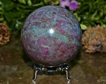 Ruby With Kyanite Sphere, Kyanite Sphere, 64 MM Gemstone Crystal Sphere