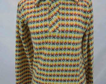 Vintage Boys Sears 70's Knit Long Sleeve Shirt. Put On Shop. Perma-Prest. Size 18.