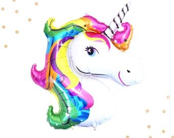 Unicorn Balloon - Large Balloon - Unicorn Head - Rainbow - Sale