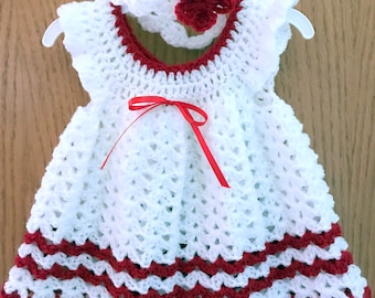 Baby Girl 0-3Months White and Red Dress