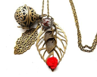 A scent! Necklace has perfume leaf, red flower Pearl spun