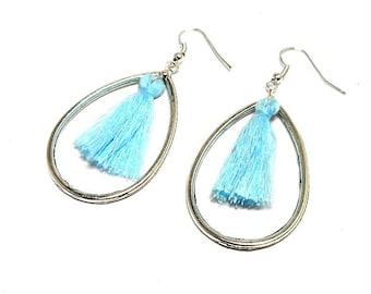 Earrings drops and sky blue tassel