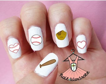 30 Baseball Nail Decals  (Waterslide Nail Decal)