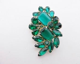 Vintage Emerald Green Rhinestone Brooch AA597