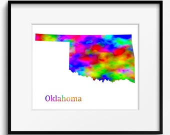 Oklahoma State Map Watercolor Art Print (097)