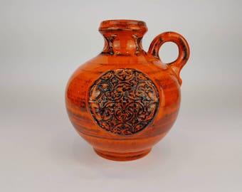 Black/orange Walter Gerhards Keramik Fat Lava Vase