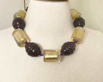 Stunning Couture Lucite Gold Leaf & Purple Beads Modernist Necklace