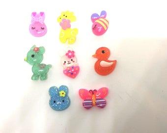 Baby Animal Pastel Color Push Pins Thumb Tacks x8