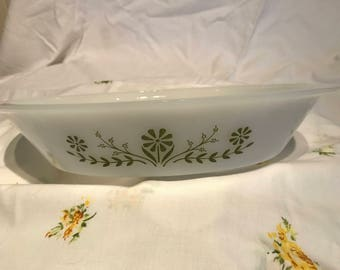 Vintage Glasbake Green Daisy Floral Design Divided Casserole Dish Pyrex Anchor Hocking Mid Century USA J2352