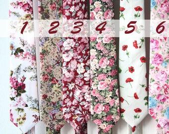 """Floral Tie 2.7"""". Mens Wedding Tie 7cm. Floral Skinny Tie. Summer. Spring Wedding. Mens Gift."""