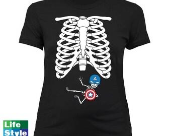 Halloween Maternity Skeleton (Captain America) Skeleton Baby SuperHero Shirts Pregnancy Halloween Maternity Costume Tee CT-1320