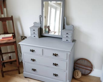 Edwardian dressing table. vintage table with mirror. painted dressing table. chest of drawers with mirror. (1282)
